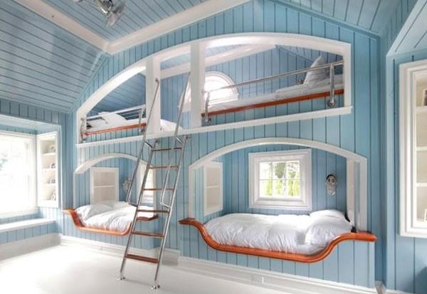 Thiết kế phòng ngủ màu xanh dương với giường tầng