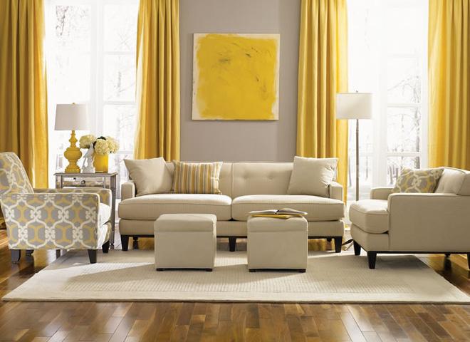 Những ý tưởng trang trí phòng khách với cặp đôi: vàng – xám