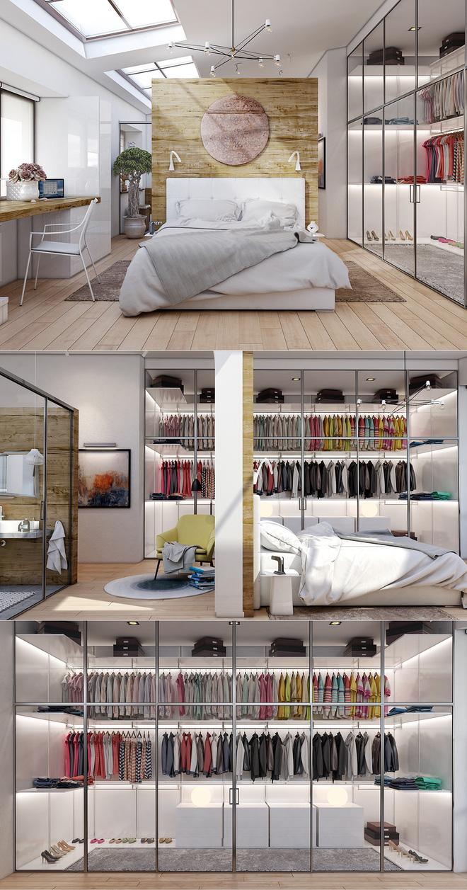 Thiết kế tủ quần áo thành không gian khép kín trong phòng ngủ
