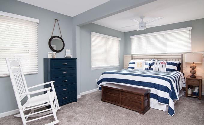 Sắc thái xanh, xám cho phòng ngủ thêm lãng mạn