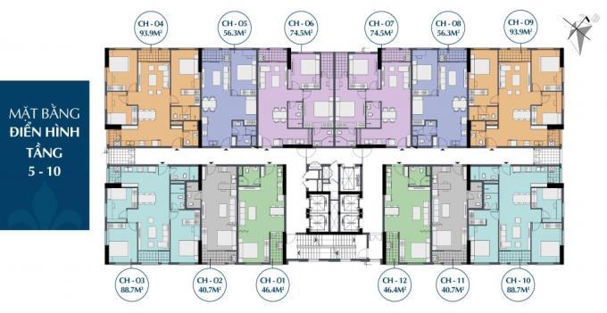 Mặt bằng điển hình tầng 5-10 chung cư 27 thái thịnh